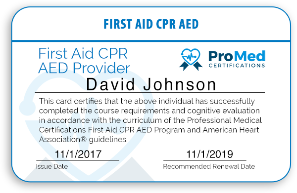 ProMed Certifications CPR Provider Card Preview