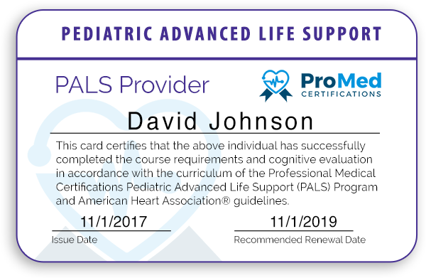 pals certification card course provider needs